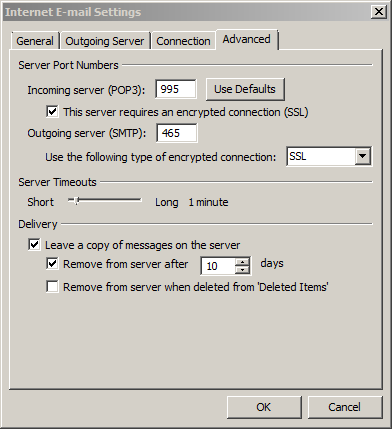how to change outlook pop ans smtp settings